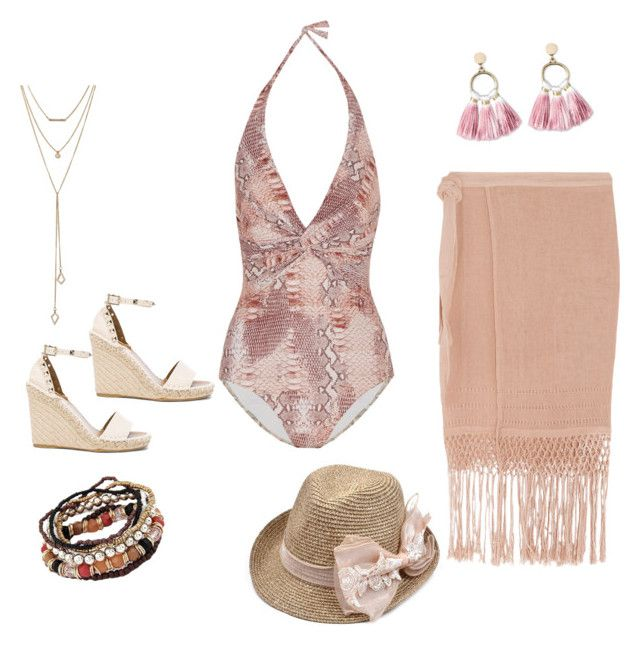 """""""Pink beach!"""" by kristell-mayorga on Polyvore featuring Melissa Odabash, Caravana, SUGARFIX by BaubleBar and Valentino"""
