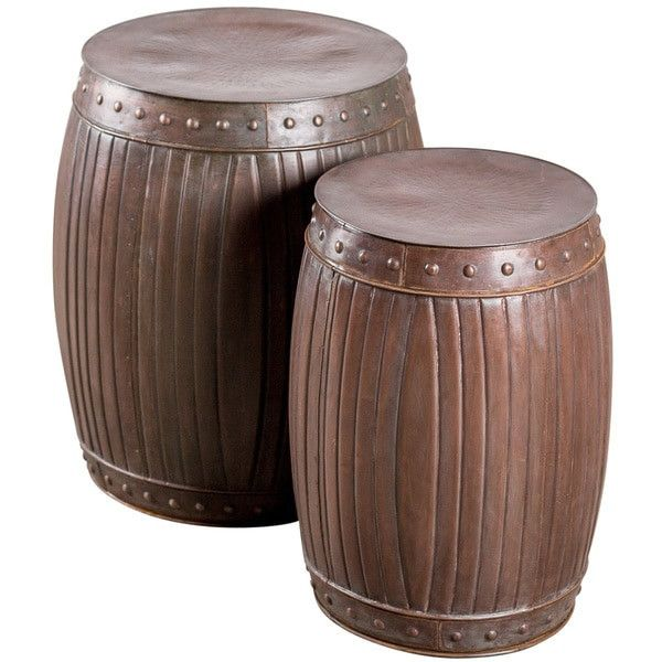 India Artisan Set Of 2 Steel Barrel Tables