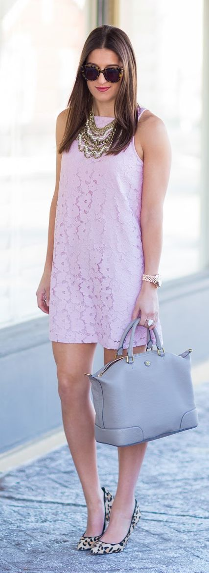 Pink Lace And Leopard Outfit Idea                                                                             Source