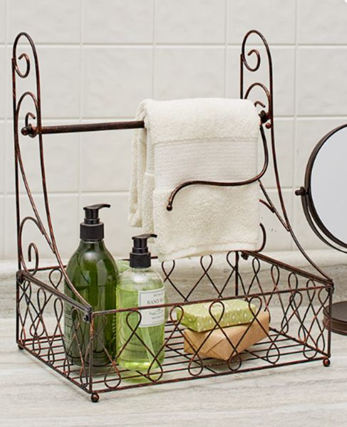 Description Bathroom Countertop Paper Towel Holder With Hand Soap Storage  Basket Bronze Use This Paper Towel