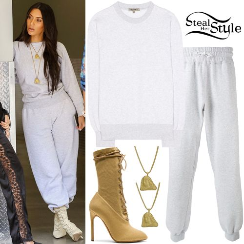 Kim Kardashian was spotted out and about in Calabasas wearing a Boxy Fit Crewneck Sweatshirt ($300.00), Tapared Sweatpants ($214.00), two 18K Yellow Gold Pendant Necklaces ($10,780.00) and Lace-Up Boots ($750.00) all from Yeezy Season 4. Get the look for less with Sweatshirt ($9.99) and Sweatpants ($19.99) from H&M, and boots from Simmi ($56.00).