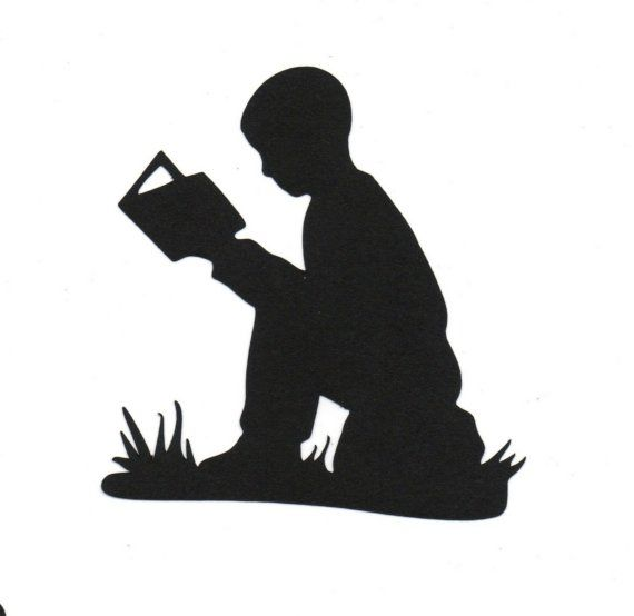 BOY reading Child Silhouette die cut for scrap booking or card making