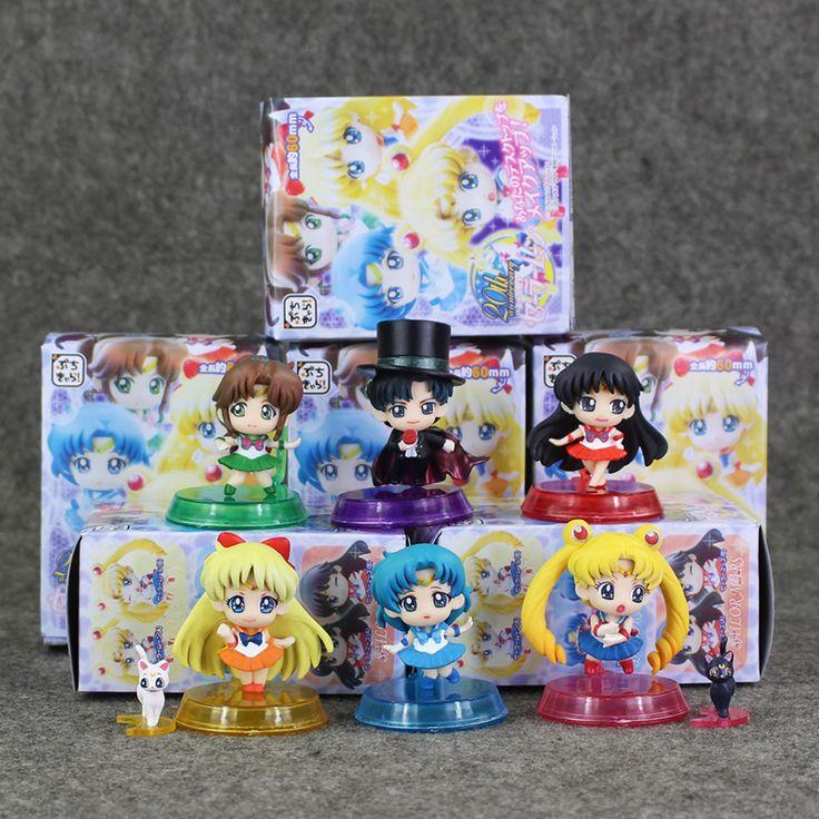 6pcs/lot Anime Sailor moon Tsukino Usagi Tuxedo Mask Mercury Mars Jupiter Venus PVC Action Figure Toys Keychain Pendant 5-6cm #Affiliate