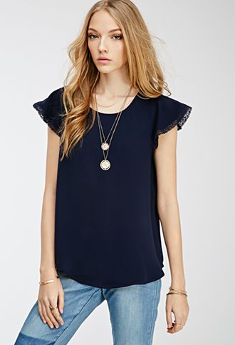 Lace-Trimmed Flutter Sleeve Top | FOREVER21 - 2000099662