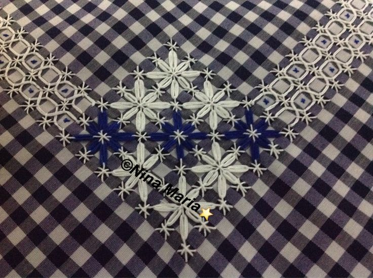 Nina Maria ⭐️️️Bordado em tecido xadrez