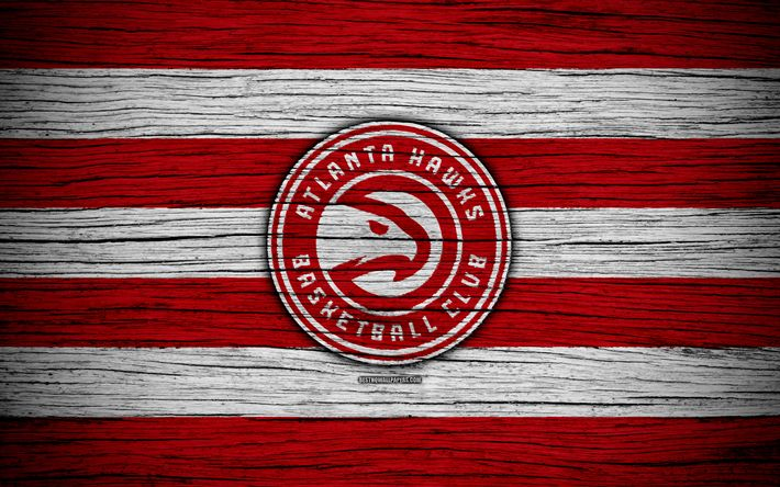 Download wallpapers 4k, Atlanta Hawks, NBA, wooden texture, basketball, Eastern Conference, USA, emblem, basketball club, Atlanta Hawks logo