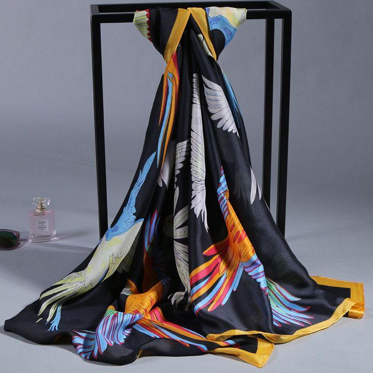 00% Zijde Satijn Lange Sjaal 90 cm X 180 cm Pure Zijde Sjaal Vrouwen Sjaals Klassieke Desigual Bestseller Fabriek groothandel