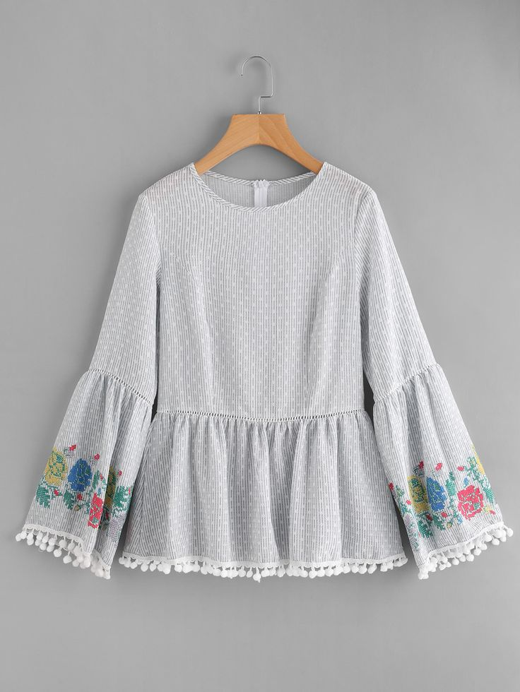 Shop Pom Pom Trim Embroidered Trumpet Sleeve Top online. SheIn offers Pom Pom Trim Embroidered Trumpet Sleeve Top & more to fit your fashionable needs.