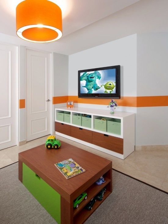 fun play space for kids :: wall mounted tv, fun lighting & colorful decor, yet not over stimulated...