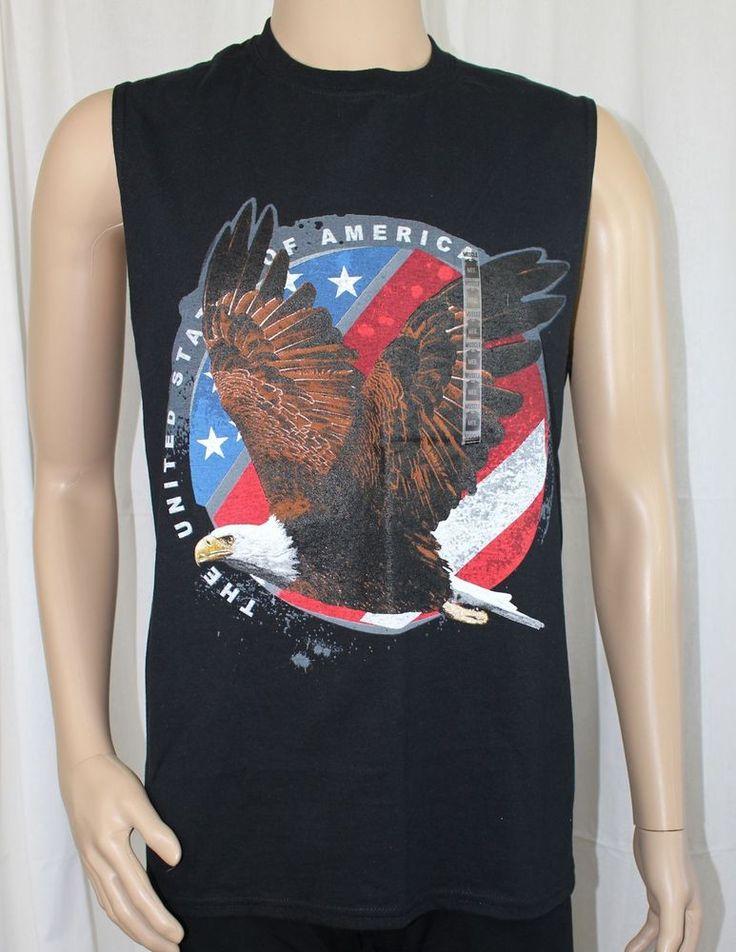 Men's Medium Black Sleeveless Muscle Shirt Flying Eagle U.S. Flag Background #Gildan #TankTop
