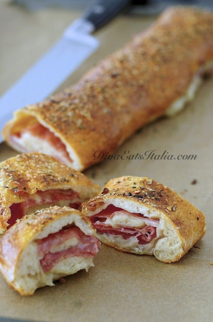 Stromboli (Definition from website's author: Stromboli is basically pizza dough that has been rolled out into a rectangle, layered with pepperoni [or in this case salami] & mozzarella cheese rolled like a jelly roll & baked till golden.)