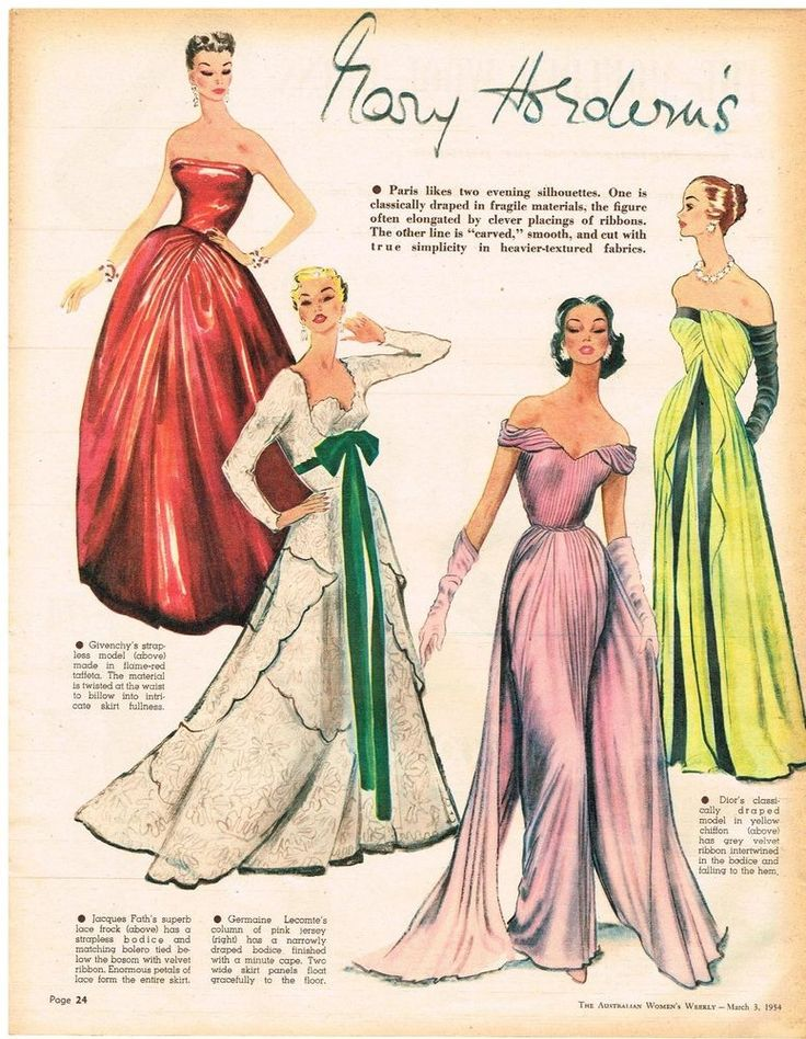 AUSTRALIAN  Vintage Fashion Art 1954 Original DIOR GIVENCHY JACQUES FATH  PARIS