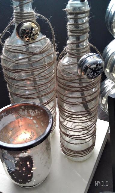 Twine Bottles :: Lynda Quintero-Davids #FocalPointStyling ... like the rustic look of twine & bells