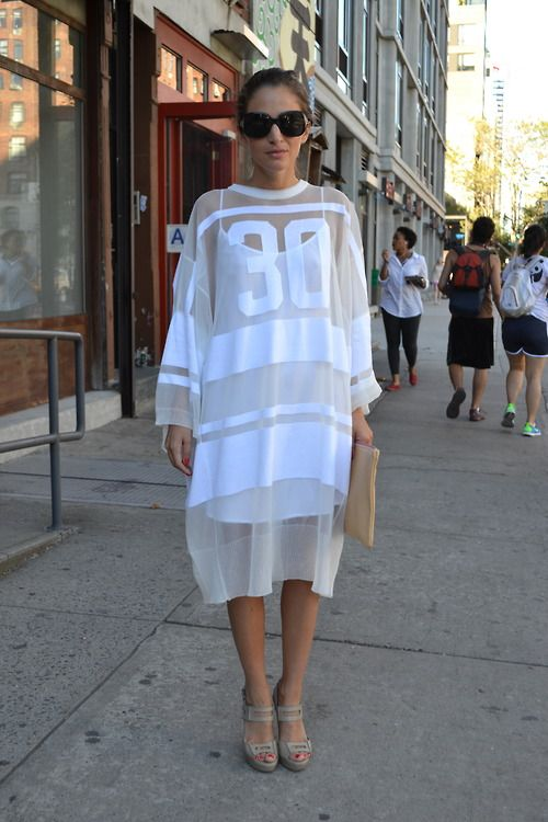 We can't get over this amazing #sportsluxe look spotted on day 1 at #nyfw #wgsnlive #streetstyle #whitehot