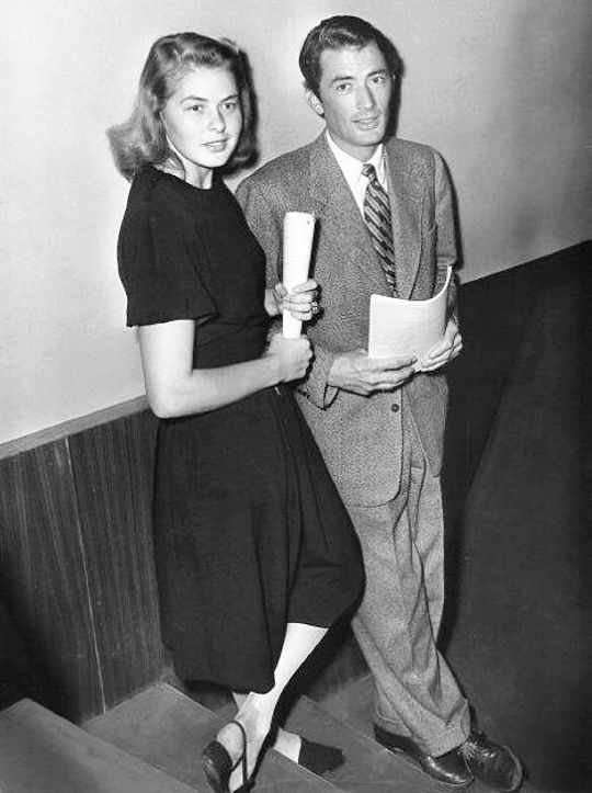 Ingrid Bergman and Gregory Peck during the rehearsal period for Spellbound, 1944