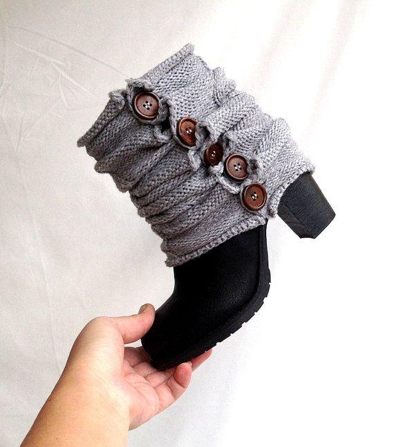 Gray knit Leg Warmers Winter Boot Cuffs Cable by senoAccessory