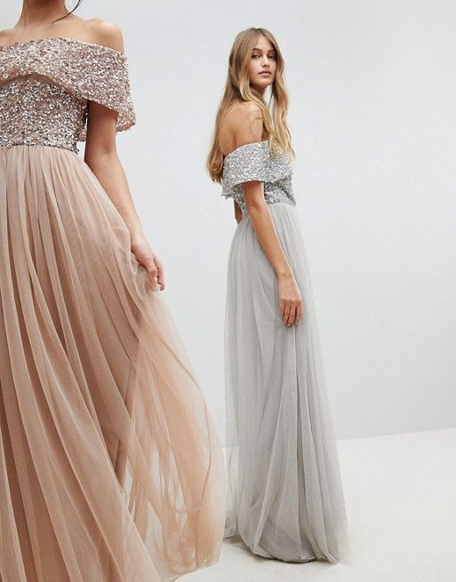 b557a74a Maya Bardot Sequin Top Tulle Detail Dress With High Low Hem in 2019 ...