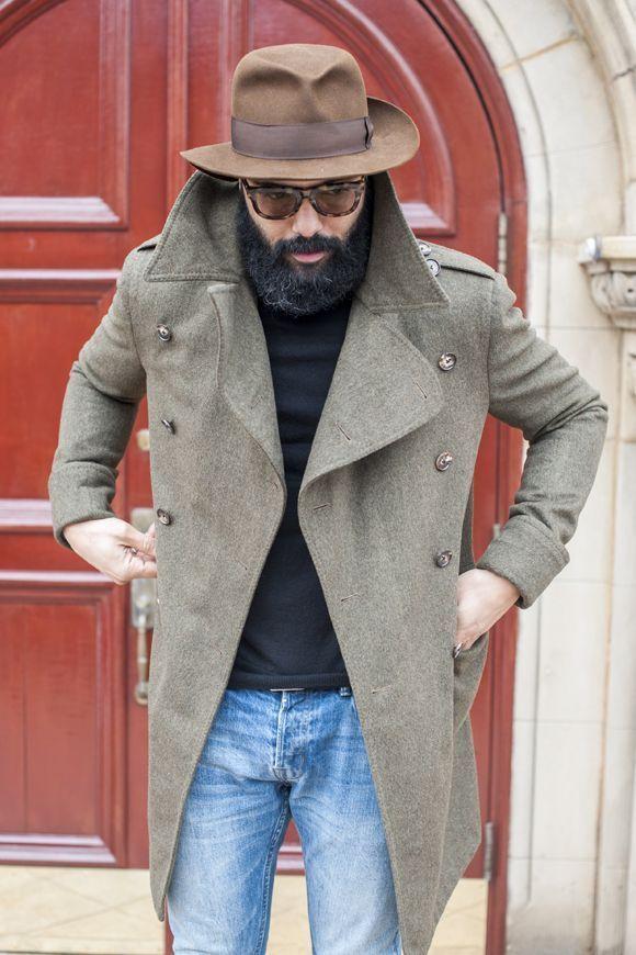 Men S Grey Overcoat Black Turtleneck Blue Jeans Brown