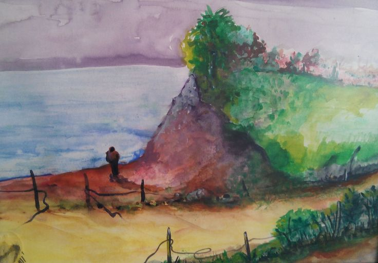 with watercolors '.... was alone'