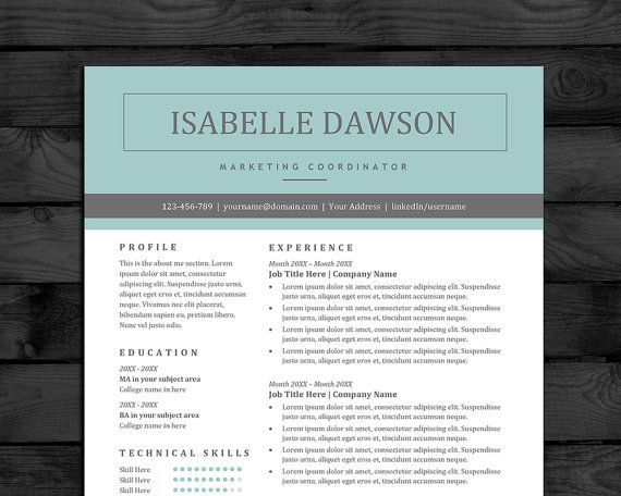 Modern Professional Resume Template For Word | Easy To Edit | 3 Pages Including Matching Cover Letter #resume #cv