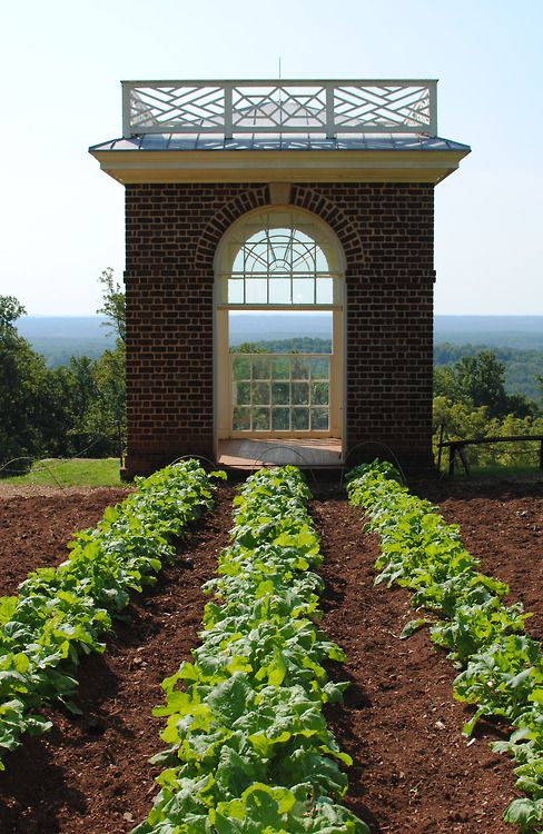 Kitchen garden at Monticello, historic home of Thomas Jefferson, in Charlottesville, VIRGINIA, USA.