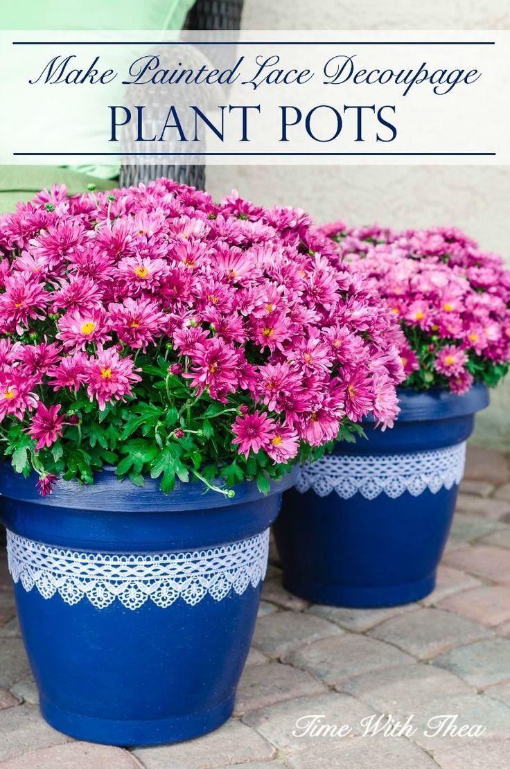 Plastic Plant Pots Part - 49: Easily Update Basic Inexpensive Plastic Plant Pots With A Gorgeous Blue  Paint Colour And Decoupaged Lace