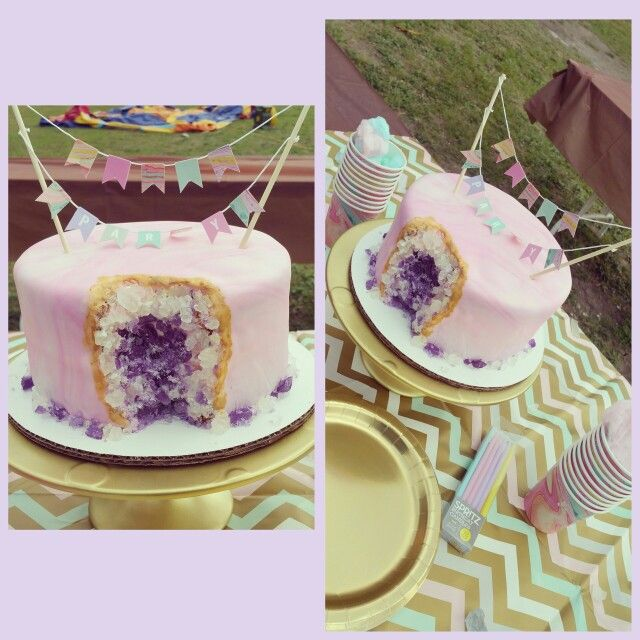 My Daughter S Geode Birthday Cake Www Facebook Com