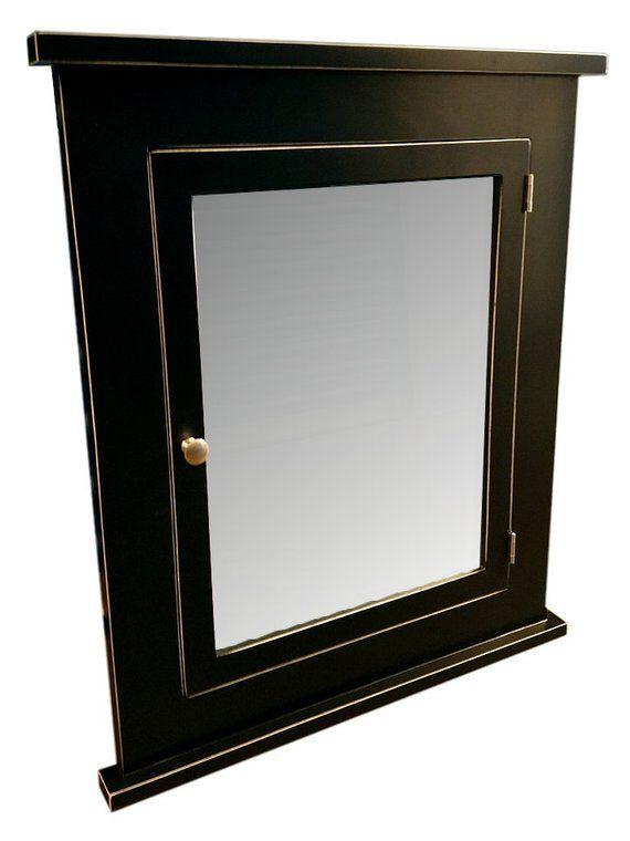 Vintage Black Recessed Medicine Cabinet Mirror Solid Wood Etsy Recessed Medicine Cabinet Mirror Recessed Medicine Cabinet Medicine Cabinet Mirror