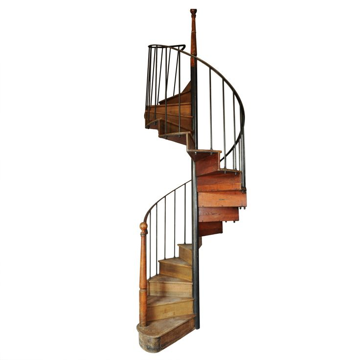 Compact Spiral Staircase: Antique Oak And Iron Spiral Staircase