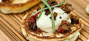 Throwing a posh dinner party? These potato blinis with aubergine and pepper are Syn-free!