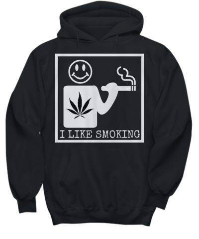 I Like Smoking Hoodie - Black w/ White Square Logo  #weed #hoodies #cannabis