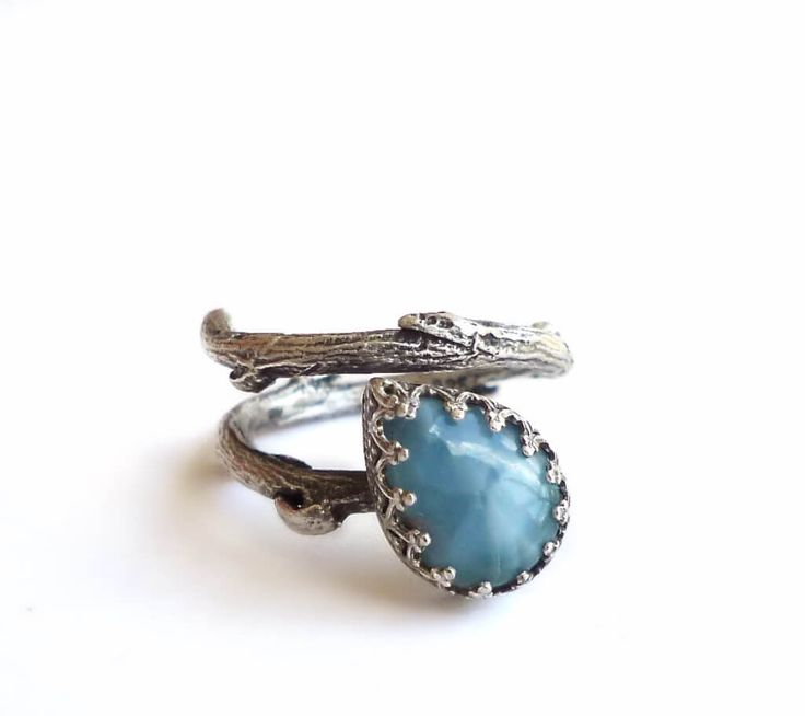 Blue Larimar Branch Ring -Botanical Oxidised Sterling Silver Ring