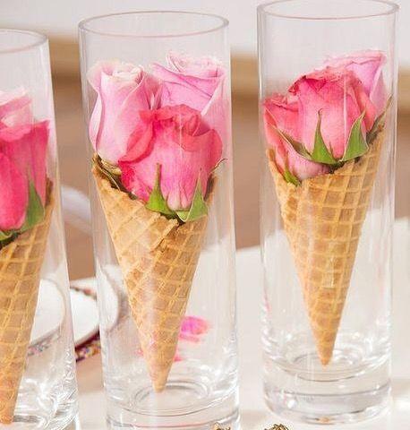 Roses in Ice Cream Cones as Centerpieces