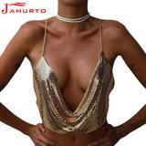 2017 Gold Chains Women Crop Tops Sleeveless Low Cut Nightclub Short Tees Sexy Backless Off-shoulder Halterneck V-neck Shirt