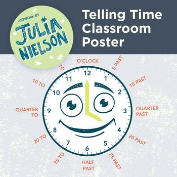 This hand illustrated classroom poster is aid for kids when learning to tell the time and comes as a high quality PDF file at A3 size and a high quality JPEG. When printing, use the 'fit to page' option which will give you some white borders that you can just chop off for a professional finish.My resources are not to be resold, distributed, gifted, shared, or traded.