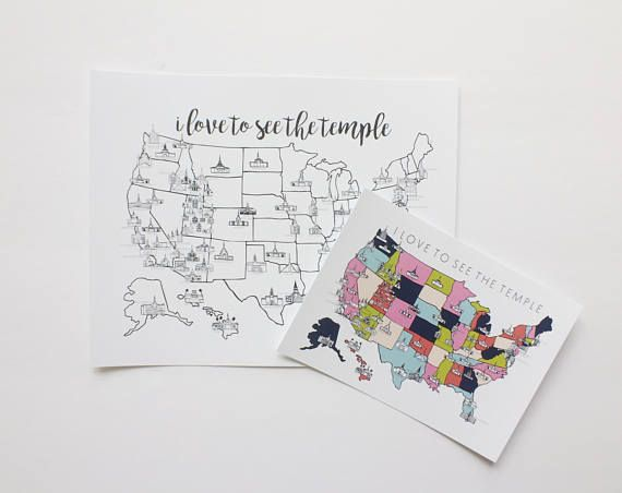 D E T A I L S : 5x7 Color version of the LDS Temple Map. Great to store in your scriptures. Printed on heavy matte card stock. S H I P P I N G : Shipping is FREE! I will do my best to ship your print as soon as possible. Orders will take me a couple days to make, then ready to be