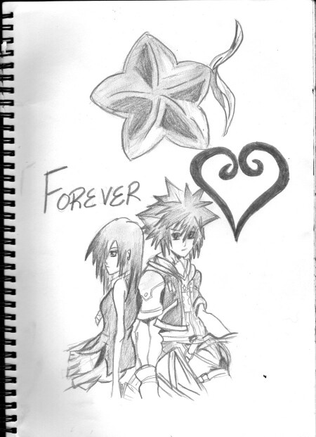 Cool kingdom hearts drawing of kairi and sora