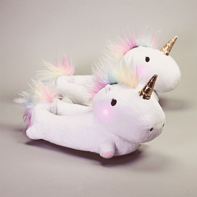 At last the undeniable cosiness of slippers has collided beautifully with the colourful magic of a mythical steed. These Enchanted LightUp Unicorn Slippers are
