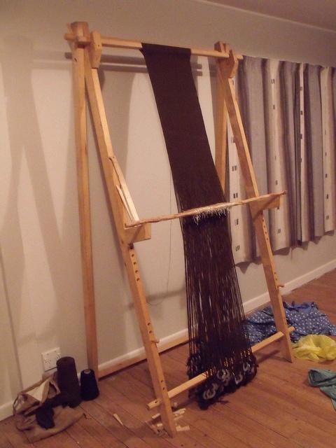loom with weaving in progress