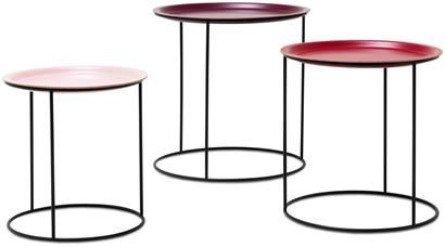 Cartanega nest of tables in 3 pieces the product is available in different colours. As shown, shades of red lacquered/matt black structure lacquered.