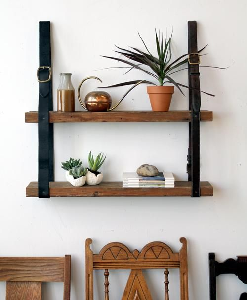DIY hanging bookshelf with recycled leather and wood shelf