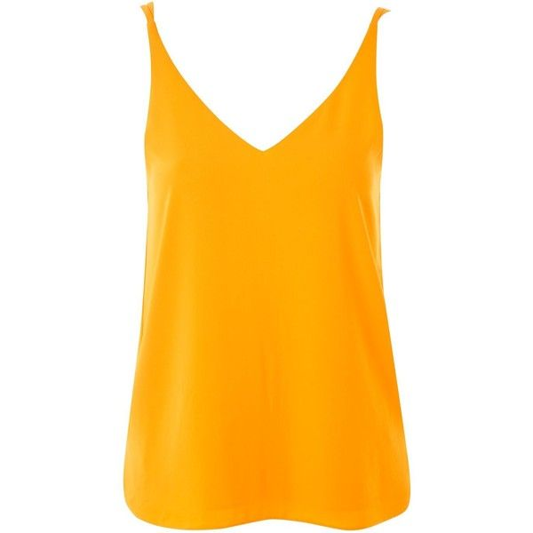 Topshop Tall Double Strap v-Neck Camisole Top ($21) ❤ liked on Polyvore featuring tops, marigold, long cami, long cami tops, orange cami, orange cami top and cami top