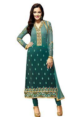 Pine Green Shazahn Padamsee Straight Suit