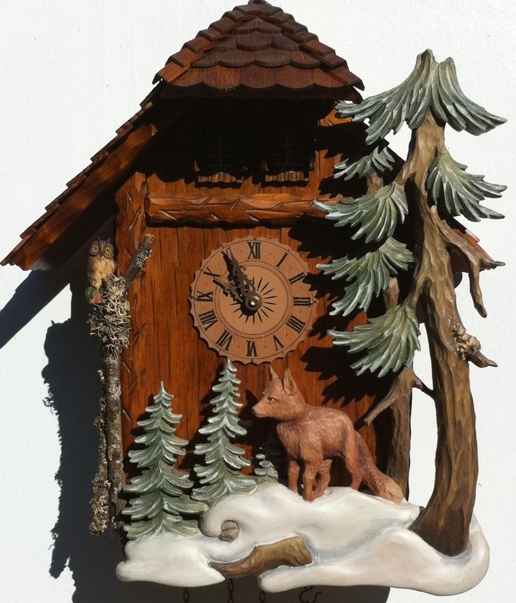 BLACK FOREST WILD FOX CUCKOO CLOCK HAND CARVED ON OFFER FREE SHIPPING | eBay