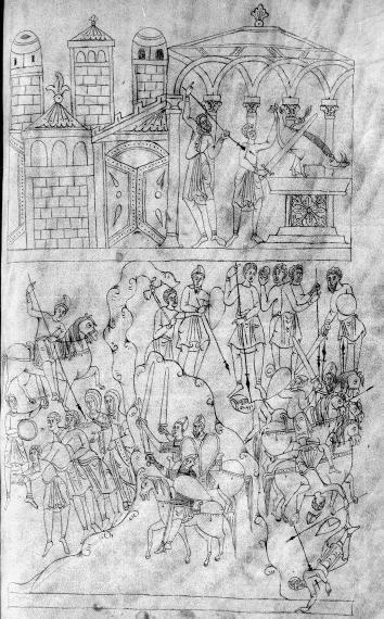 Biblia Sancti Petri Rodensis or Roda Bible, Spain, 11th century. Biblia Sancti Petri Rodensis. Ms Latin 6 (3) folio 144r Mattathias kills the apostate/ Massacre on the Sabbath day.