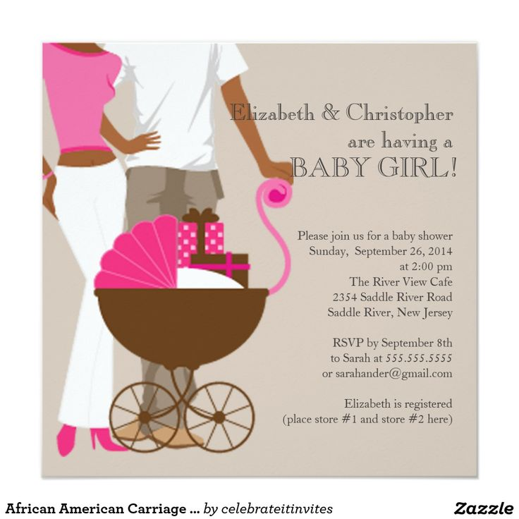 African American Carriage Couple Baby Shower 5.25x5.25 Square Paper  Invitation Card
