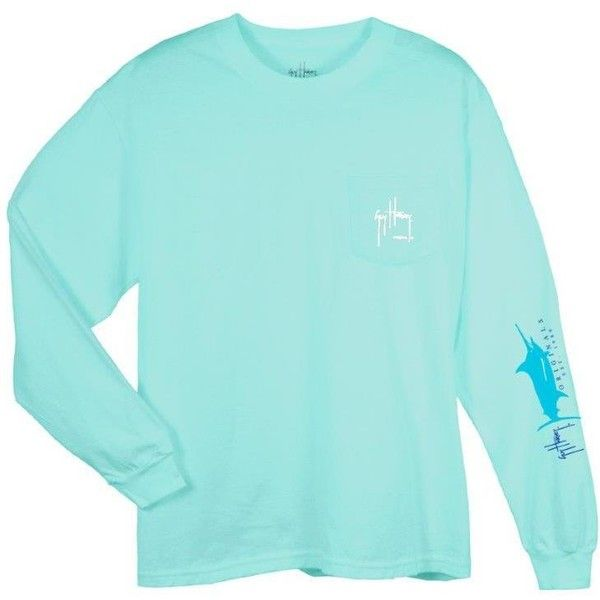 Guy Harvey Logo Longsleeve T-shirt ($40) ❤ liked on Polyvore featuring tops, t-shirts, cotton t shirt, blue long sleeve tee, long sleeve t shirts, longsleeve t shirts and long sleeve cotton tees