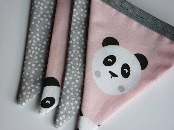 Handmade Pink Panda and Grey Spotty Mini Fabric Bunting