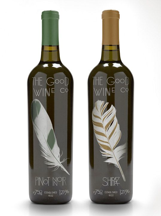 The Good Wine Co.: Feathers Labels, Wine Company, Bottle Labels, Feathers Wine, Wine Labels, Wine Design, Packaging Design, Wine Bottle, Bottle Design