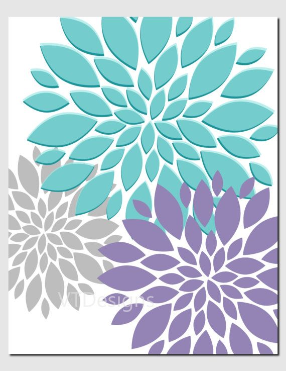 Kids Wall Art Purple Teal Aqua Nursery Art Brooklyn by vtdesigns